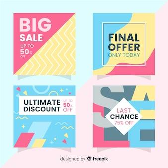 Banners promocionales de venta para redes sociales.