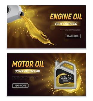 Banners publicitarios realistas de aceite de motor con ilustración de texto promocional de propiedades de protección totalmente sintéticas y súper