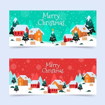Banners de pueblo navideño en diseño plano
