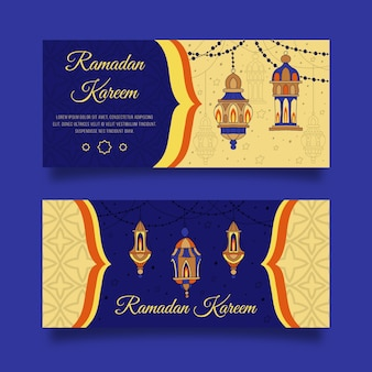 Banners de ramadán dibujados a mano