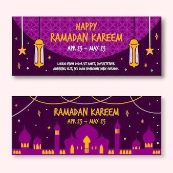 Banners de ramadan de diseño dibujado a mano