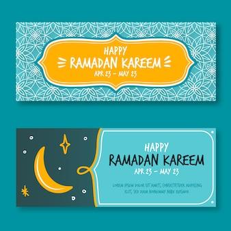Banners de ramadan de estilo dibujado a mano
