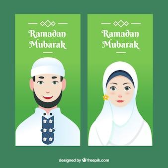 Banners de ramadán con hombre y mujer