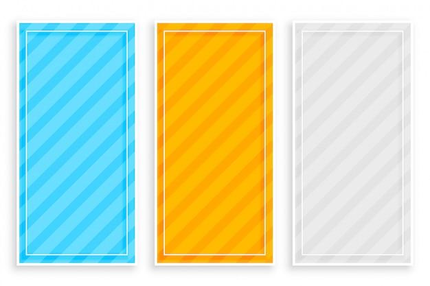 Banners de rayas diagonales en negrita conjunto de tres