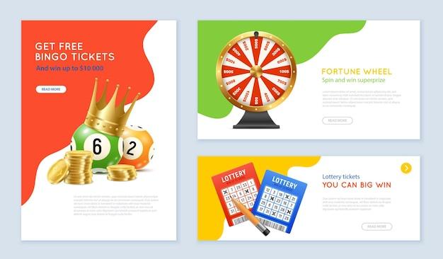 Banners realistas con boletos de lotería de bingo, bolas y rueda de la fortuna.