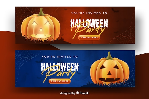 Banners realistas de calabaza de halloween