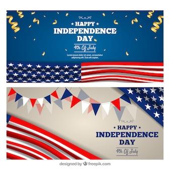 Banners realistas del día de la independencia de ee.uu.