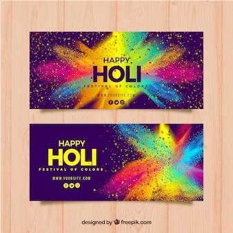 Banners realistas de festival holi