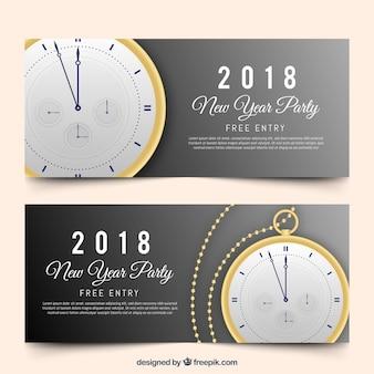 Banners realistas de fiesta de año nuevo 2018 con reloj de bolsillo