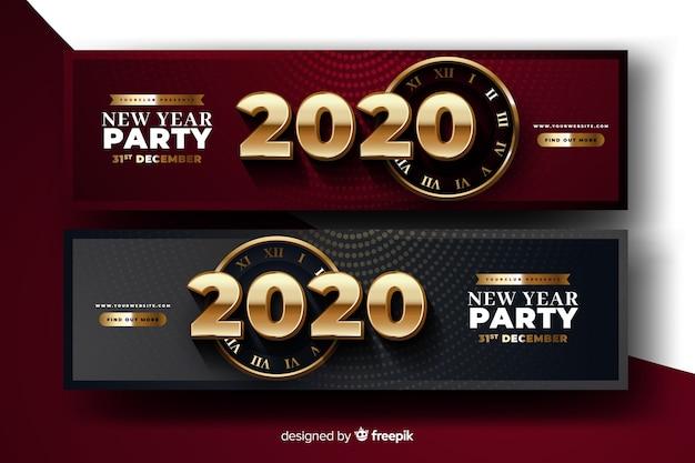 Banners realistas de fiesta de año nuevo 2020