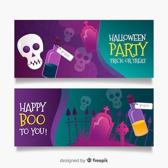 Banners realistas de halloween con calaveras y cementerio