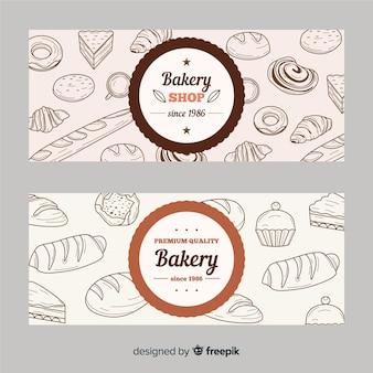 Banners realistas de panadería dibujados a mano