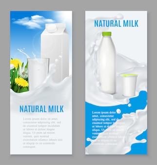 Banners realistas de productos lácteos