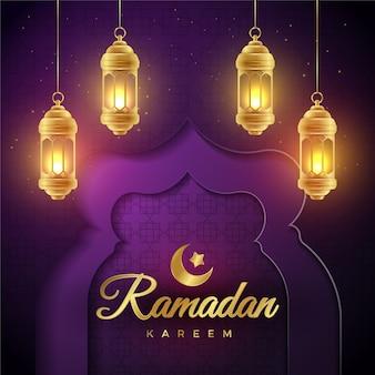 Banners realistas de ramadán