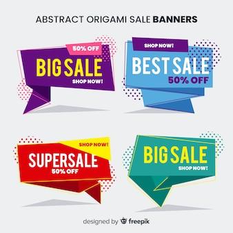 Banners de rebajas abstractos origami