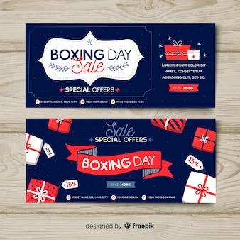 Banners de rebajas boxing day dibujado a mano