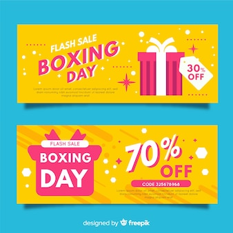 Banners de rebajas boxing day en diseño plano