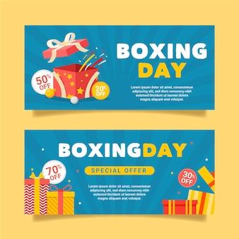 Banners de rebajas de boxing day en diseño plano
