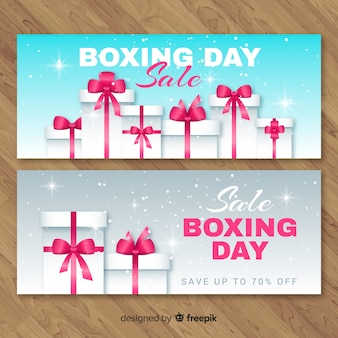 Banners de rebajas boxing day realista