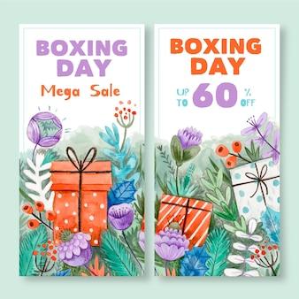 Banners de rebajas del día del boxeo en acuarela