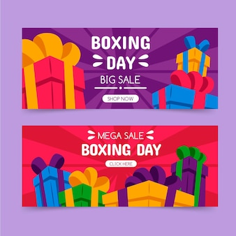 Banners de rebajas del día del boxeo dibujados a mano