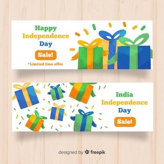 Banners de rebajas del día de la independencia de india en acuarela