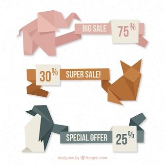 Banners de rebajas con diseño de animales de origami
