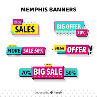 Banners de rebajas estilo memphis