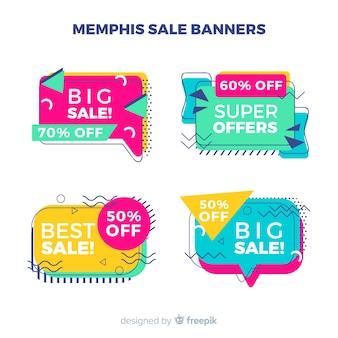 Banners de rebajas en estilo memphis