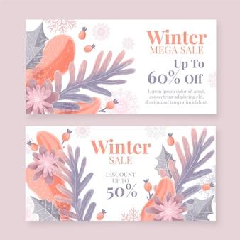 Banners de rebajas de invierno dibujados a mano