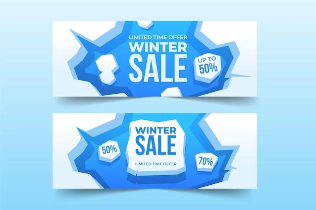 Banners de rebajas de invierno con elementos planos