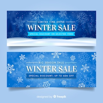 Banners de rebajas de invierno realista