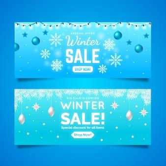 Banners de rebajas de invierno realistas