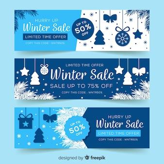 Banners de rebajas de invierno