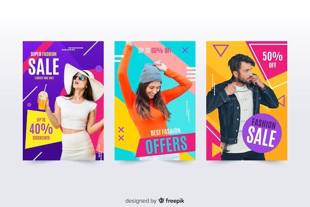 Banners de rebajas de moda con foto