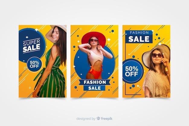 Banners de rebajas de moda con fotografía