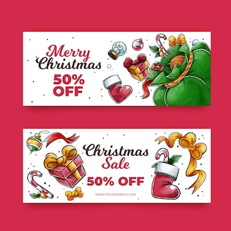 Banners de rebajas de navidad en acuarela