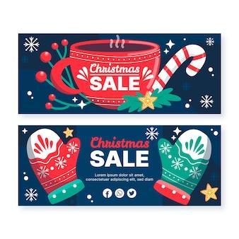 Banners de rebajas de navidad dibujados a mano