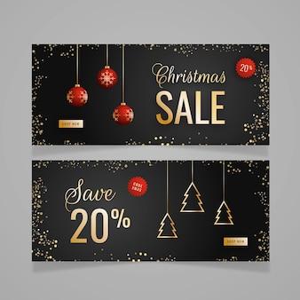 Banners de rebajas de navidad de diseño plano