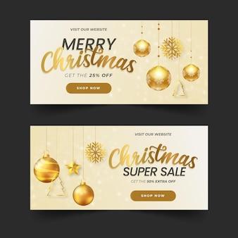 Banners de rebajas de navidad doradas