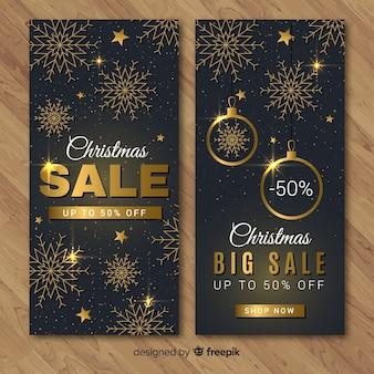 Banners de rebajas de navidad dorado