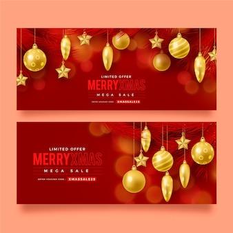 Banners de rebajas de navidad realistas