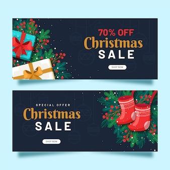 Banners de rebajas navideñas en diseño plano