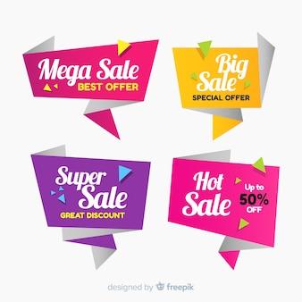 Banners de rebajas de origami colorido