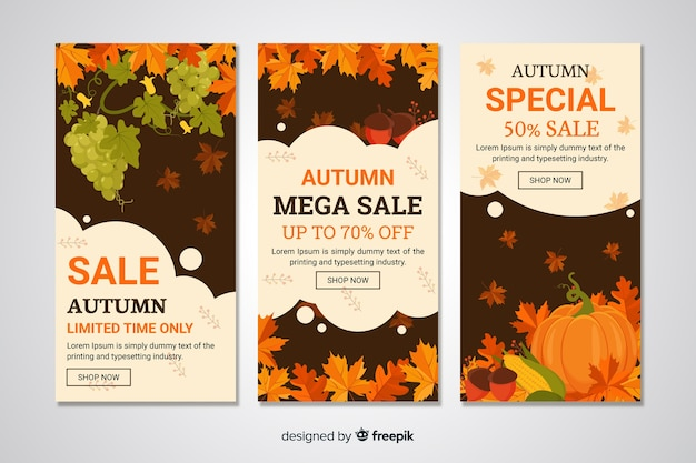 Banners de rebajas de otoño en diseño plano