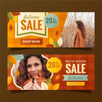 Banners de rebajas de otoño horizontales degradados con foto