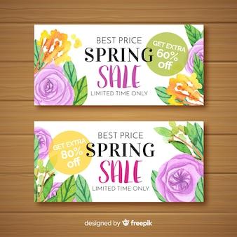 Banners de rebajas de primavera en acuarela