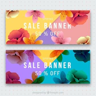Banners de rebajas de primavera coloridos detallados
