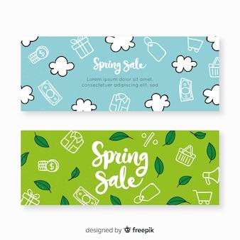 Banners de rebajas de primavera dibujado a mano