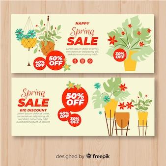 Banners de rebajas de primavera en diseño plano